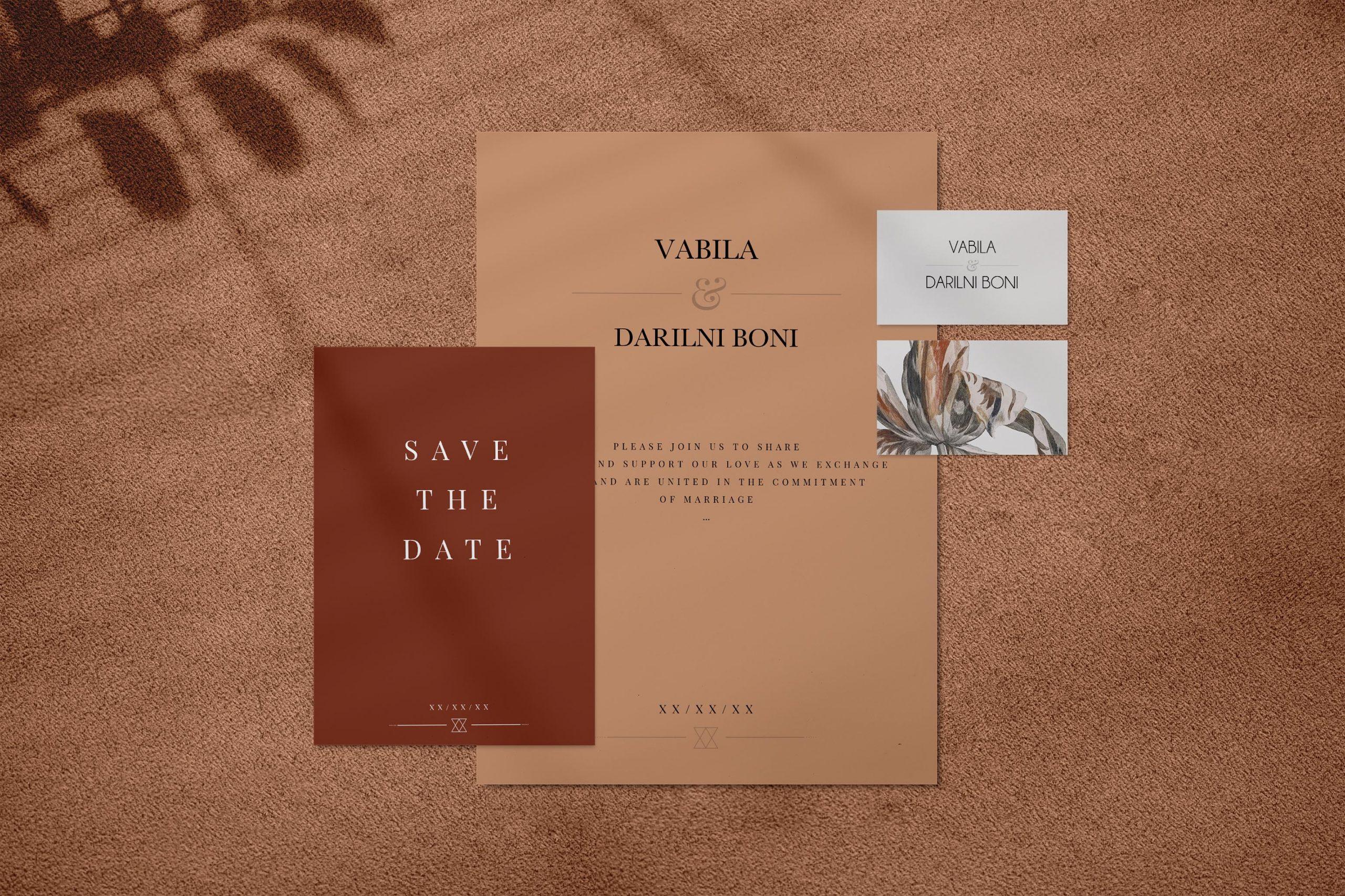 Brown wedding invitation mockup set
